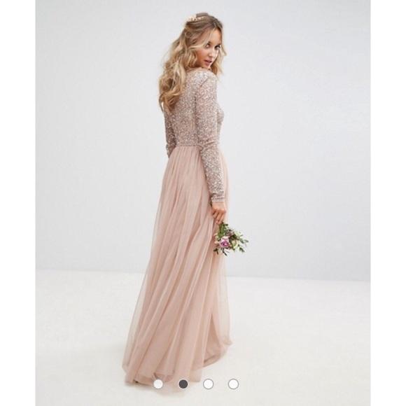 5e670b15e0 NWT ASOS MAYA Long Sleeved Maxi Dress with Sequins
